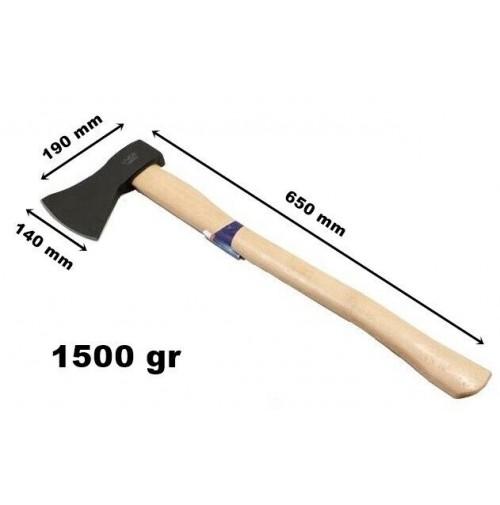 ASCIA ACCETTA SCURE SPACCALEGNA 1500 gr. MANICO IN LEGNO LAMA 140mm LUNG. 650 mm
