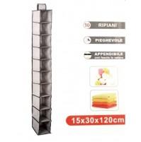BOX CONTENITORE PIEGHEVOLE A 10 RIPIANI APPENDIBILE DA ARMADIO CM 15X30X120