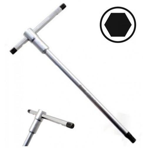 CHIAVE ESAGONALE A T CON ASTA SCORREVOLE 4,5 mm  AGGANCIO MULTIPLO 195 X 85 mm