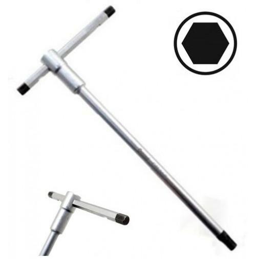 CHIAVE ESAGONALE A T CON ASTA SCORREVOLE 8 mm  AGGANCIO MULTIPLO 250 X 120 mm