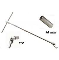 CHIAVE PER CANDELE A T SNODABILE MISURA 1/2 LUNGHEZZA 450 mm CON BUSSOLA 16 mm