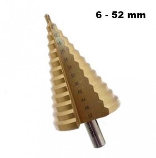 FRESA CONICA ALLARGAFORI ELICOIDALE A GRADINO PER METALLO 6-52 mm ALLARGA FORI