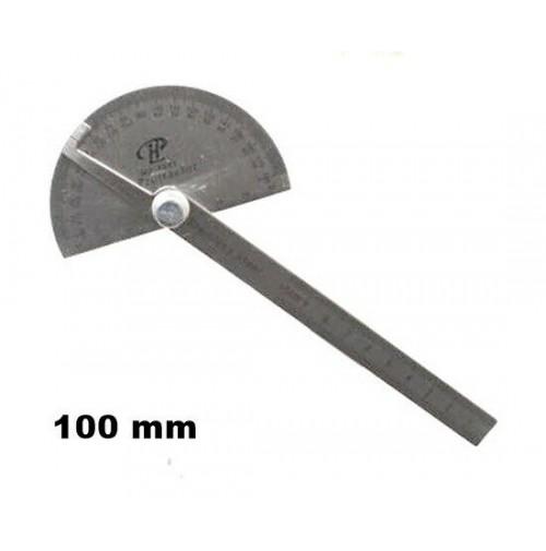 GONIOMETRO IN ACCIAIO CON LAMA DA 100 mm E TESTA BASE SEMI CIRCOLARE A 180°