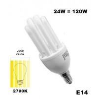 LAMPADINA A BASSO CONSUMO RISPARMIO ENERGETICO 24 WATT (120W) E14 CALDA  2700K