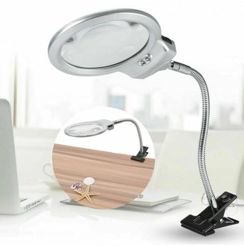 Lente ingrandimento da tavolo con luce a 2 led fissaggio a morsetto - Lente ingrandimento da tavolo ...