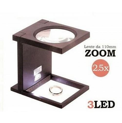 Lente ingrandimento da tavolo pieghevole richiudibile lente 2 5x e luce a 3 led - Lente ingrandimento da tavolo ...