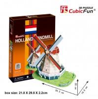 PUZZLE 3D DI MULINO A VENTO OLANDESE 45 PEZZI CM 26,5 X 19,6 X H 20  (NO COLLA)