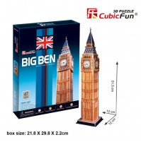 PUZZLE 3D RIPRODUZIONE BIG BEN DI LONDRA 47 PEZZI CM 12 X 12 X H  51,5