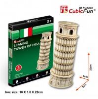 PUZZLE 3D RIPRODUZIONE DELLA TORRE DI PISA 13 PEZZI CM 9X9Xh23 (NO COLLA)