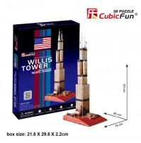 PUZZLE 3D RIPRODUZIONE DELLA WILLS TOWER DI CHICAGO 51 PEZZI CM 19 X 26 X H 63