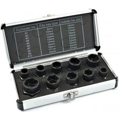 SET 10 BUSSOLE ESTRATTORI ALTI X DADI E BULLONI SPANATI SLABBRATI 9-19 mm