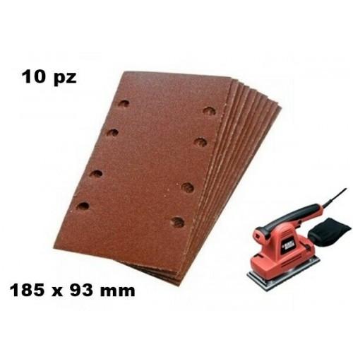 SET 10 FOGLI CARTA VETRATA ABRASIVA CON VELCRO 93 X 185 mm GRANA 60 X LEVIGATR.