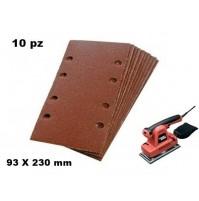 SET 10 FOGLI CARTA VETRATA ABRASIVA CON VELCRO 93 X 230 mm GRANA 60 X LEVIGATR.