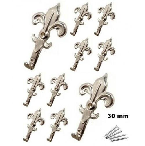 SET 10 GANCI IN METALLO CROMATI X QUADRI A FORMA DI GIGLIO 30 X 18 mm CON CHIODI