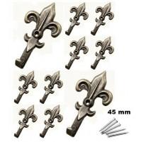 SET 10 GANCI IN METALLO  X QUADRI FORMA DI GIGLIO 45 X 25 mm CON CHIODI