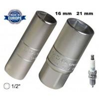 SET 2 BUSSOLE LUNGHE X CANDELE DI AUTO E MOTO DA 16 & 21 mm CON ATTACCO DA 3/8