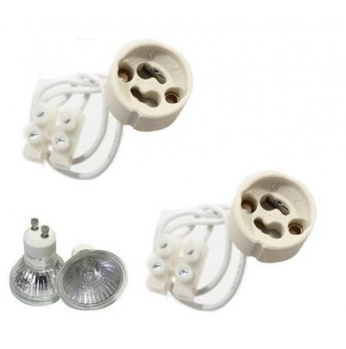 Set 2 portalampada in ceramica gu10 per lampadine e for Lampadine per faretti