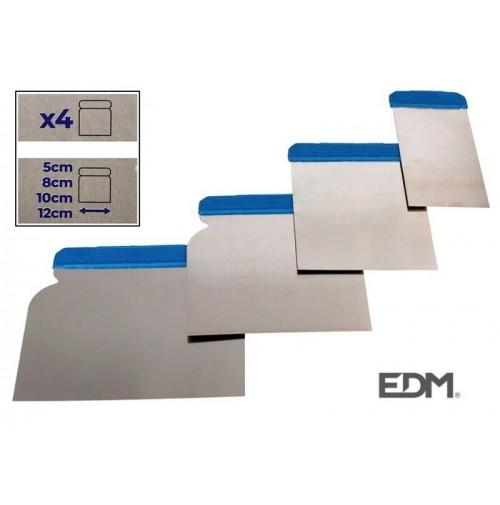 SET 4 SPATOLE RETTANGOLARI PER STUCCO IN ACCIAIO INOX MANICO ANTISCIVOLO 5-12 cm