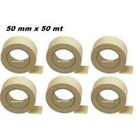 SET 6 PEZZI ROTOLO DI NASTRO DA CARROZZIERE IN CARTA GOMMATA 50 mm X 50 METRI