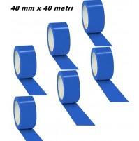 SET 6 ROTOLI NASTRO ADESIVO IMBALLAGGIO BLU 48 mm X 40 METRI CONFEZIONE 6 PEZZI