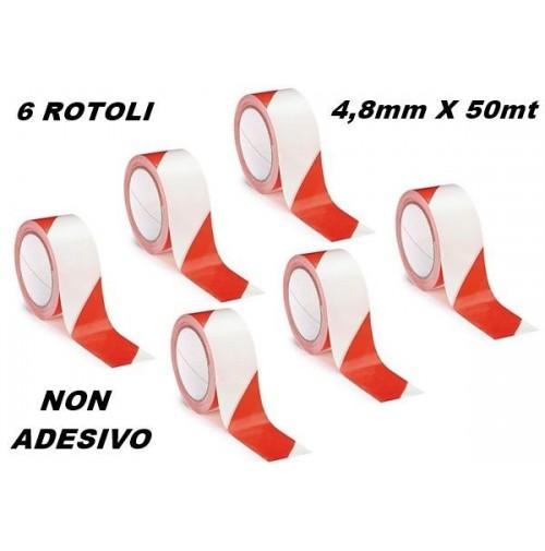 SET 6 ROTOLI NASTRO SEGNALETICO SEGNALAZIONE NON ADESIVO BIANCO ROSSO 48mm X 15m