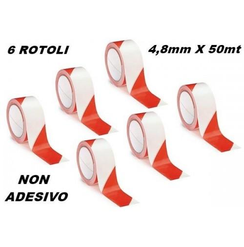SET 6 ROTOLI NASTRO SEGNALETICO SEGNALAZIONE NON ADESIVO BIANCO ROSSO 48mmX50mt.