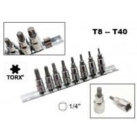 SET 8 CHIAVI A BUSSOLA TORX MASCHIO T8 - T40 CON ATTACCO 1/4 CHROME VANADIUM