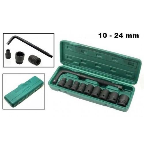 SET DI CHIAVI BUSSOLA AD IMPATTO DA 1/2 10 PZ 10 -24 mm LUNG. 40 mm + PROLUNGA