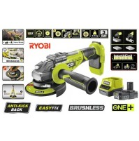 SMERIGLIATRICE ANGOLARE BRUSHLESS 125 mm A BATTERIA 18V 2.0Ah LITHIUM PLUS RYOBI