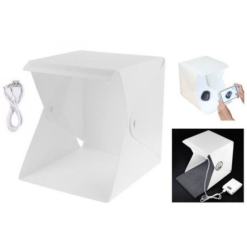 STUDIO SET FOTOGRAFICO PORTATILE PIEGHEVOLE LIGHT BOX CON ILLUMIN. LED 2 SFONDI