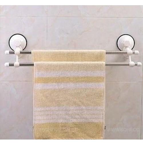 Supporto porta asciugamani x bagno a due aste fissaggio a ventosa niente fori - Porta asciugamani per bagno ...