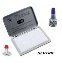 TAMPONE CUSCINETTO SPUGNA NEUTRO X TIMBRI 120 X 85 mm + INCHIOSTRO BLU 30ml