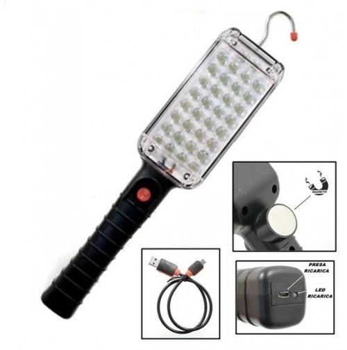 TORCIA LAMPADA DA LAVORO ISPEZIONE MECCANICO RICARICABILE USB 34 LED