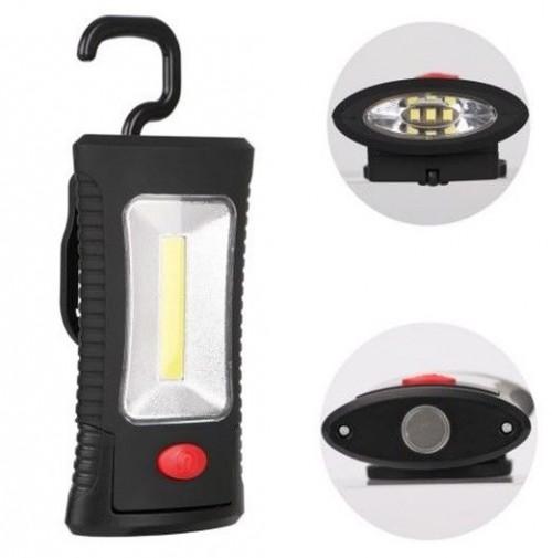 TORCIA LAMPADA PORTATILE A BATTERIE A 3 LED +LED STRIP COB CON GANCIO E CALAMITA