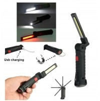 TORCIA MULTIFUNZIONE STRIP LED + LED COBE RICABICABILE USB TESTA PIEGHEVOLE 360°
